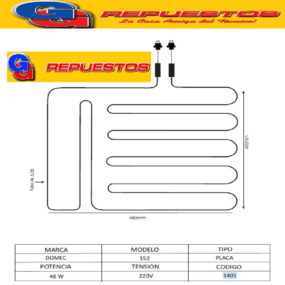 RESISTENCIA ALUMINIO HELADERA DOMEC 152 1376-----1401 220V 48W