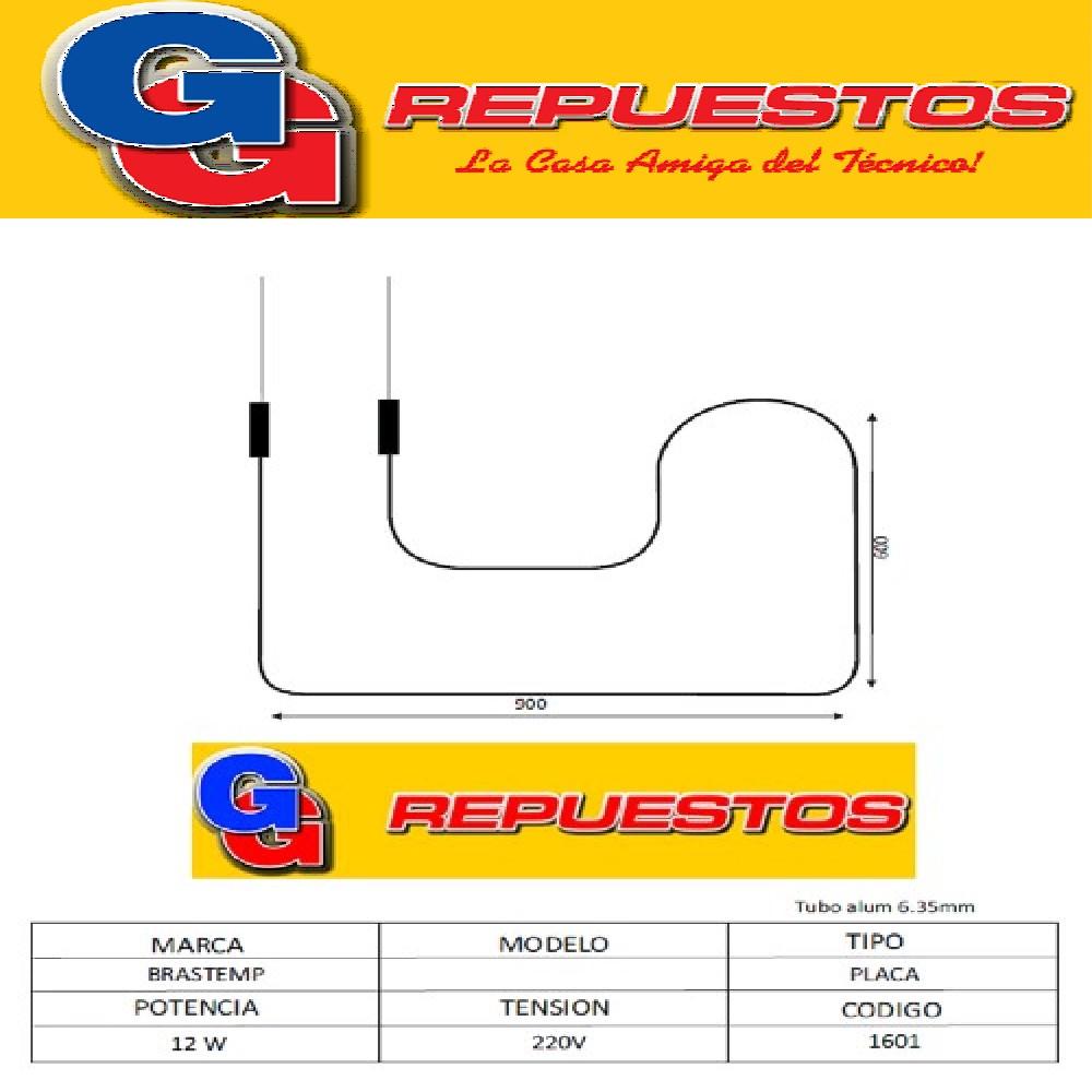 RESISTENCIA ALUMINIO HELADERA BRASTEMP--1601 220V 12W
