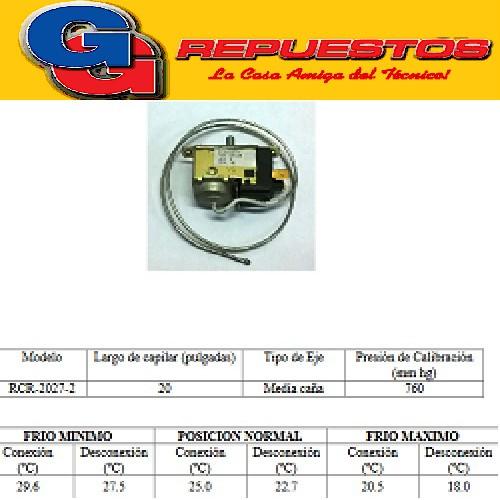 TERMOSTATO BlueStar-RCR2027-4S  AIRE ACONDICIONADO 2 CONTACTOS MEDIA CAÑA Fedder (+28.2+26.3_+17.5+15) CAPILAR 0.50M VENTANA FRIO SOLO