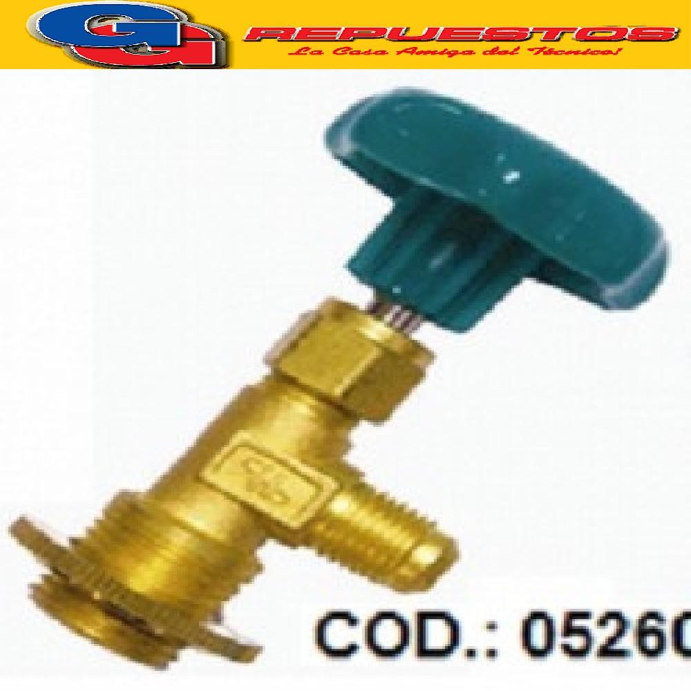 VALVULA LLAVE PARA GARRAFA R134 ROSCA GRANDE P/ MANIFOLD