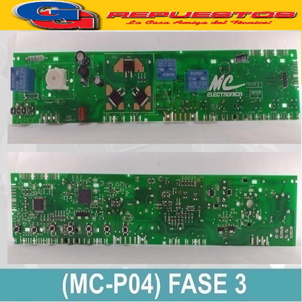 PLAQUETA PARA LAVARROPAS DREAN TIPO MC NEXT 6.08 ECO (709803860) CODIGO 19 DE LA TABLA DE  PROGRAMACION DE DREAN. PLACA COPIA NACIONAL