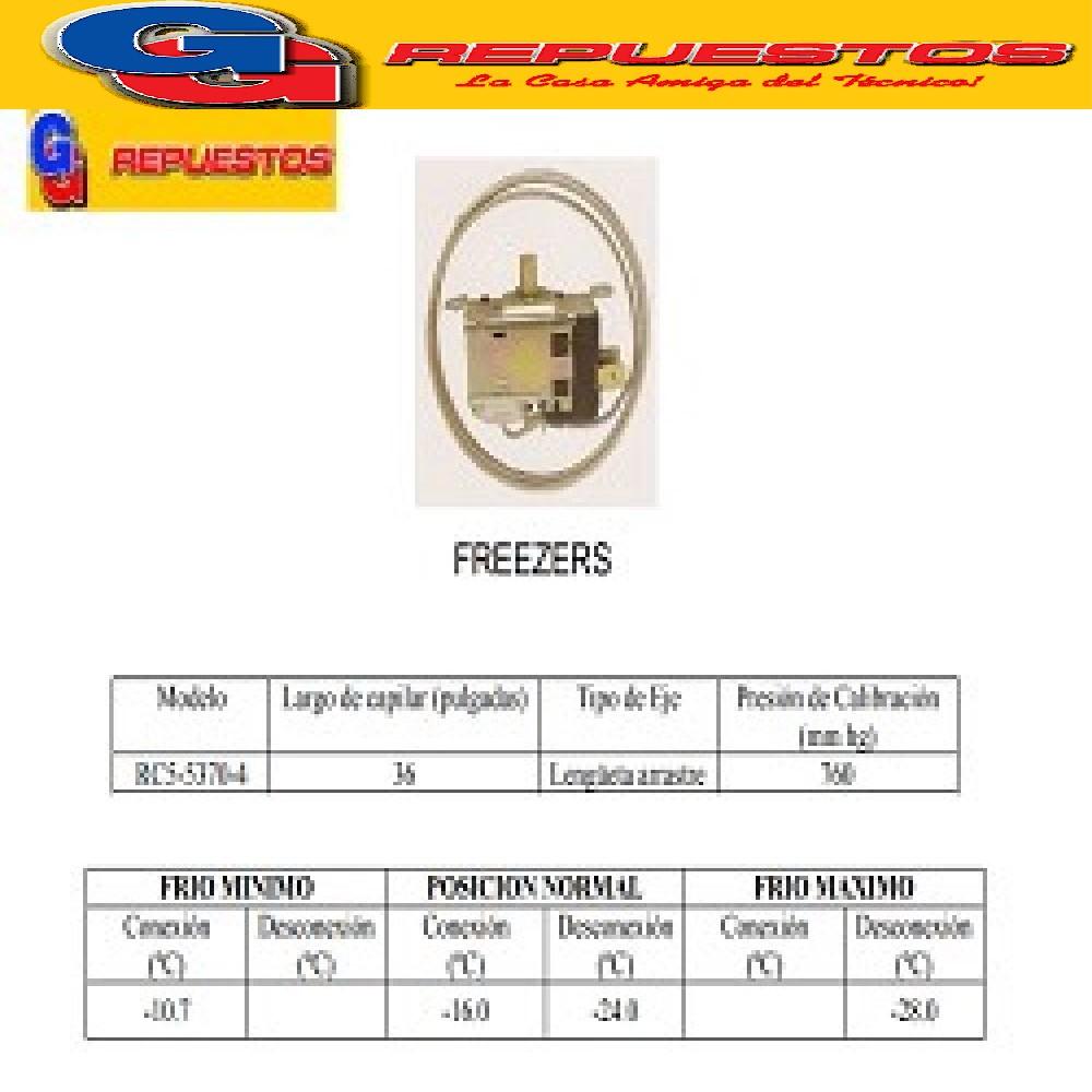 TERMOSTATO BlueStar-RC53670-4S FREEZER GAFA 2 CONTACTOS EJE REDONDO (-10.7-16_-24_-28) CAPILAR 0.9M