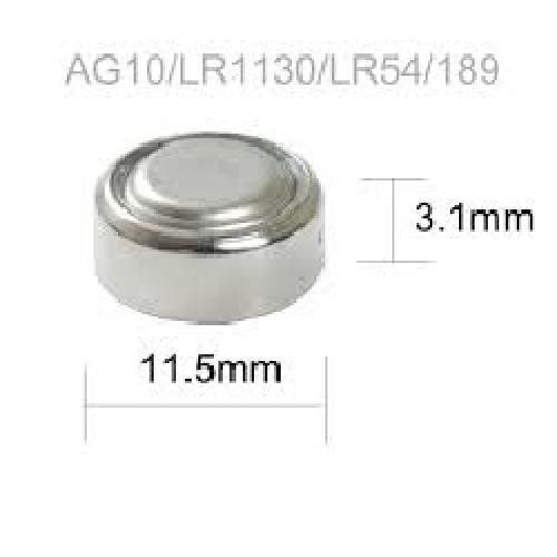 PILA AG10 1.55V LR1130-LR54-389-SR1130-189 ALKALINA