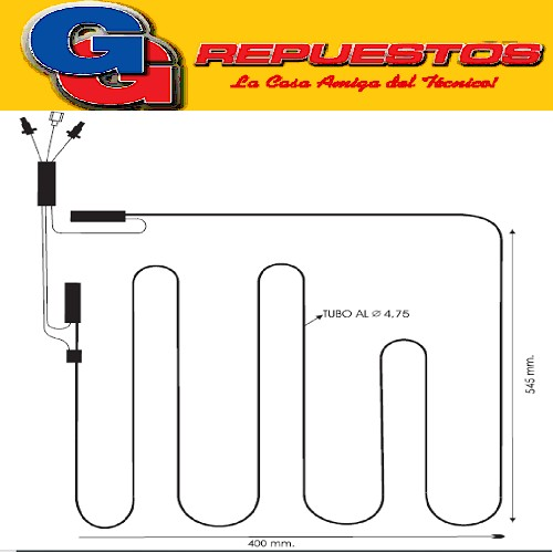 RESISTENCIA DE ALUMINIO DE HELADERA KENT 171T-----0202- 220V 40W