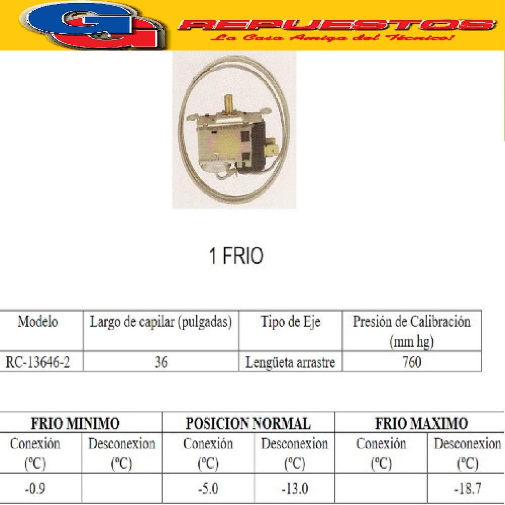 TERMOSTATO BLUESTAR -RC13646-2--Tipo TF7-101 STANDAR EJE REDONDO CON LENGUETA DE ARRASTRE 1 FRIO 2  CONTACTOS= RC-13625-2 KPF19B3