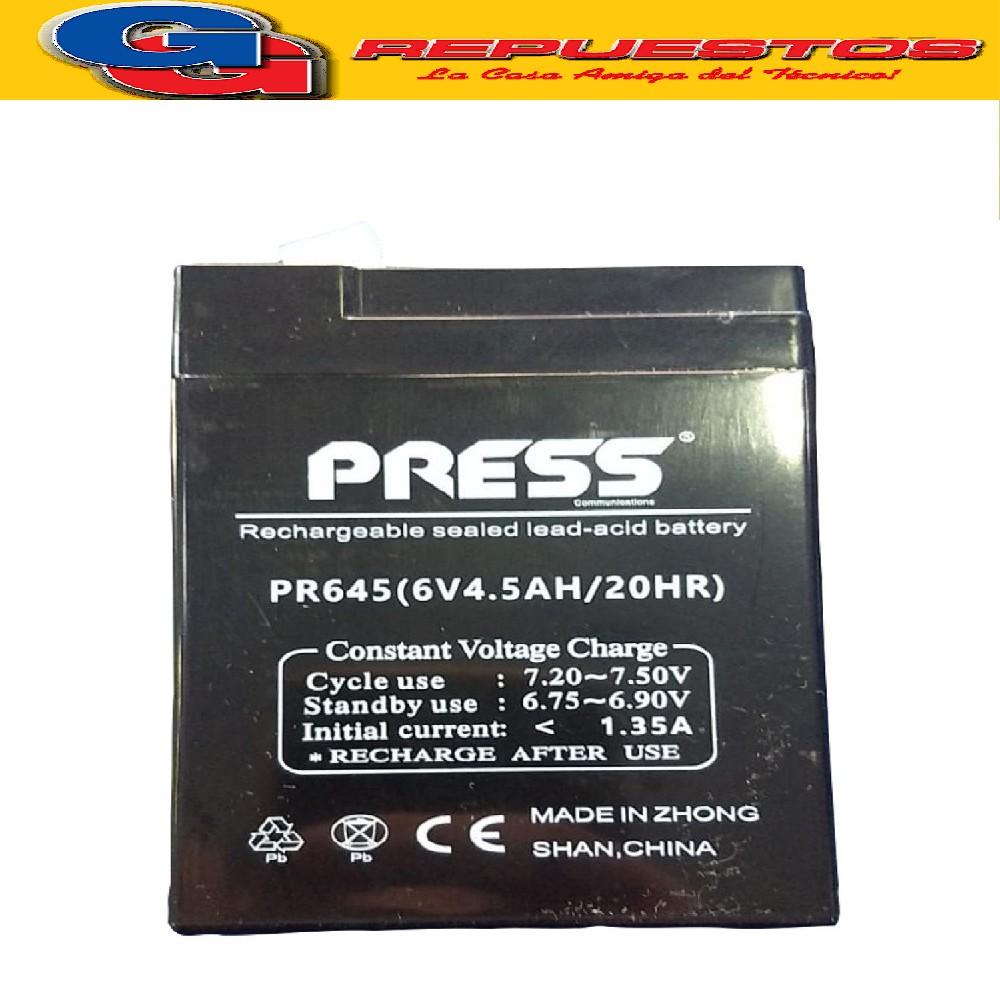 BATERIA 6V-4.5AH ELECTROL.ABSORBIDO