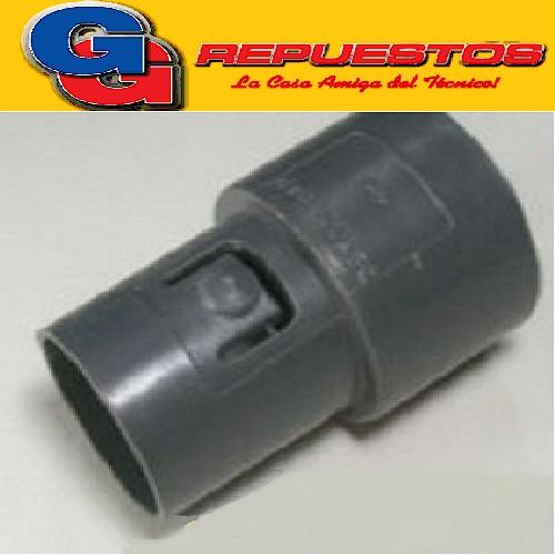 ACOPLE A MAQUINA MANGUERA ASPIRADORA FAMILIAR ULTRACOMB C/BOTON, ALTO 68 mm , DIAMETRO EXTERIOR PARTE MANGUERA 45 mm , DIAMETRO EXTERIOR PARTE MAQUINA 34.50 mm