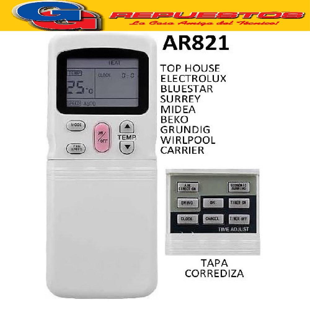 CONTROL REMOTO AIRE ACONDICIONADO SURREY Y VARIOS FRIO CALOR R11CG/E GRUNDIG TOP HOUSE ELECTROLUX MIDEA WHIRLPOLL WHITE WESTINGHOUSE MARSHALL CARRIER BLUESTAR BEKO