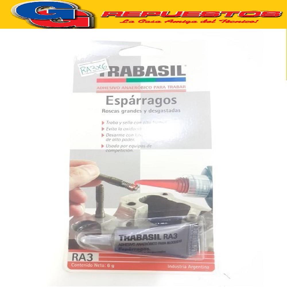 TRABASIL RA3 X 6 GR TRABA ESPARRAGOS ALTO TORQUE 0.45 mm ADHESIVO ANAEROBICO PEGAMENTO