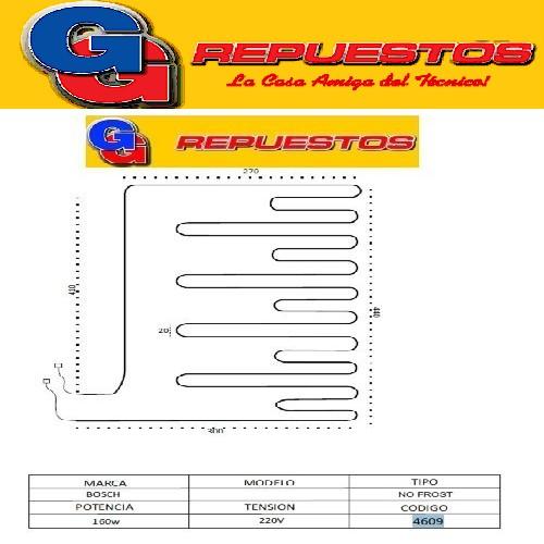 RESISTENCIA DE ALUMINIO DE HELADERA BOSCH 4609 220V 160W