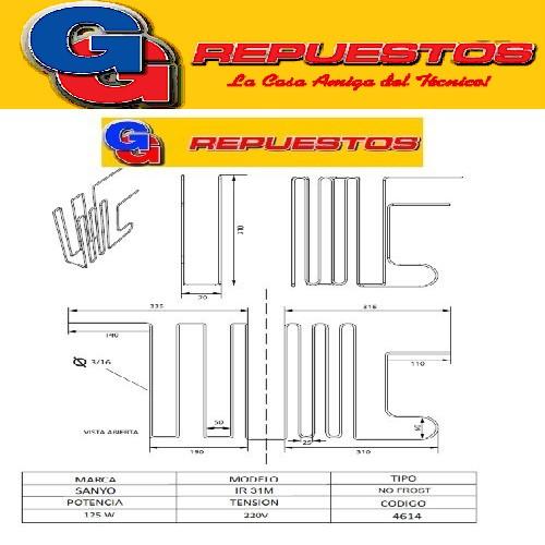 RESISTENCIA DE ALUMINIO DE HELADERA SANYO IR 31M NO FROST 4614 220V 125W