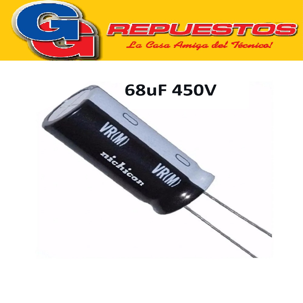 CAPACITOR ELECTROLITICO 68uFX450 VOLTS LCD