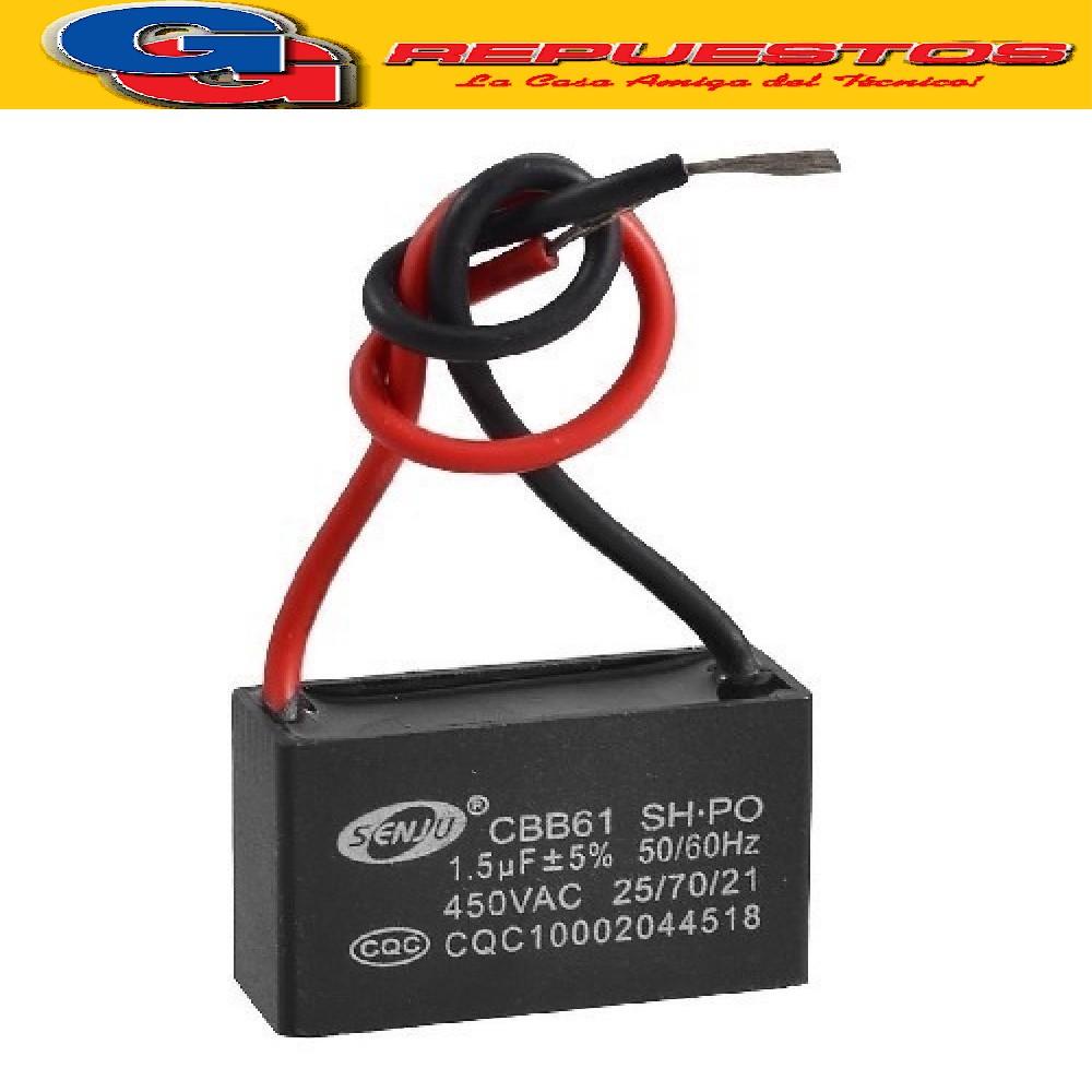 CAPACITOR 1.5uF X 400V CUADRADO C/CABLES VENTILADOR TECHO