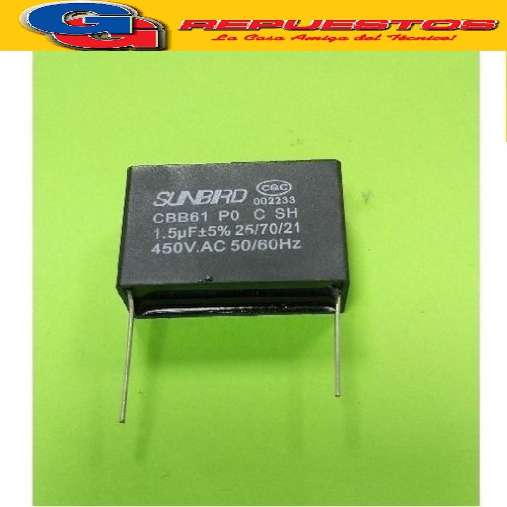 CAPACITOR 1.5uF X 450V CUADRADO C/PINES P/SOLDAR VENTILADOR CHINO (ISATECH)
