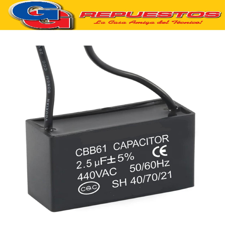 CAPACITOR 2.5uF X 450V CUADRADO C/CABLES VENTILADOR CHINO (ISATECH) CBB611A