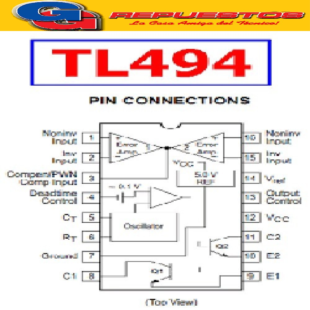 TL494 CN CIRCUITO INTEGRADO ( REGULADOR PWM ) TRANSISTOR