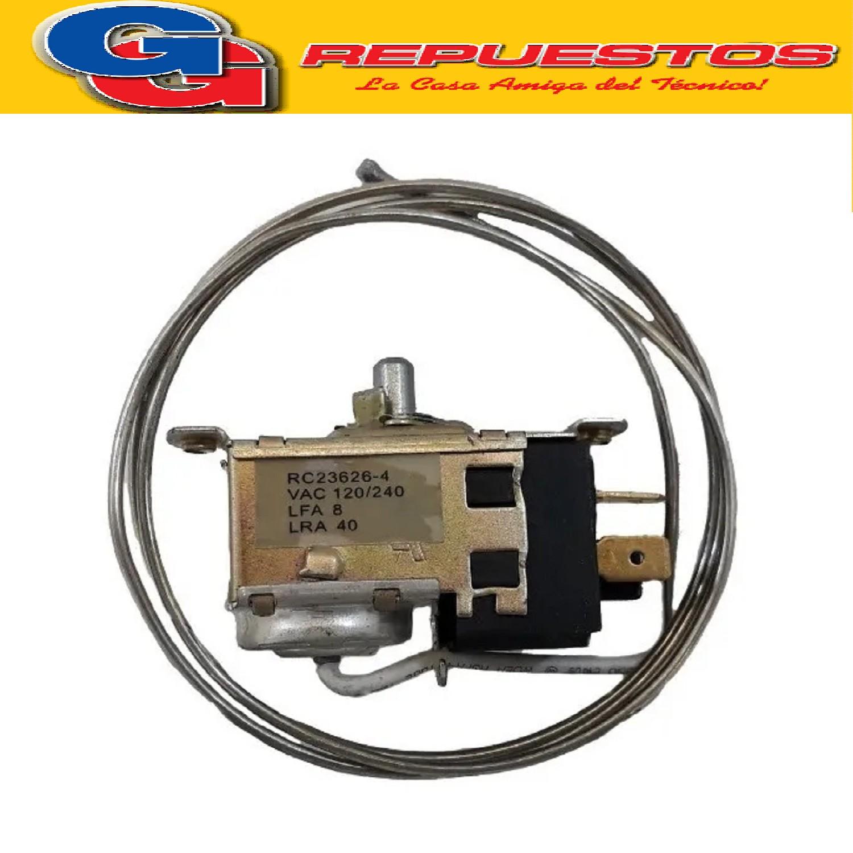 TERMOSTATO TIPO RC 23626-4S / 2 FRIOS / REEMP. TF9 KENT- 2  CONTACTOS EJE REDONDO (+3.5-13.5_-17.6_-22) CAPILAR 0.9 RC-22872