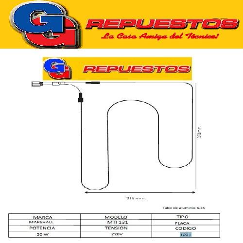 RESISTENCIA DE ALUMINIO HELADERA MARSHALL MTI130 MTI131-1001- 220V 50W