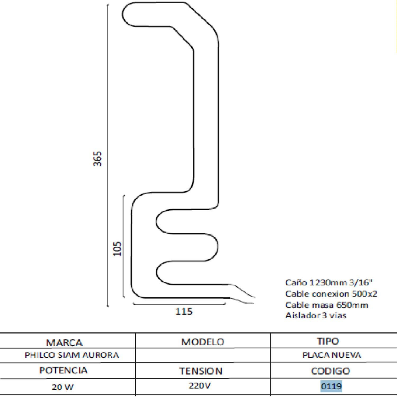 RESISTENCIA ALUMINIO HELADERA AURORA/PHILCO SIAMT/GANCHO-0119 220V 20W