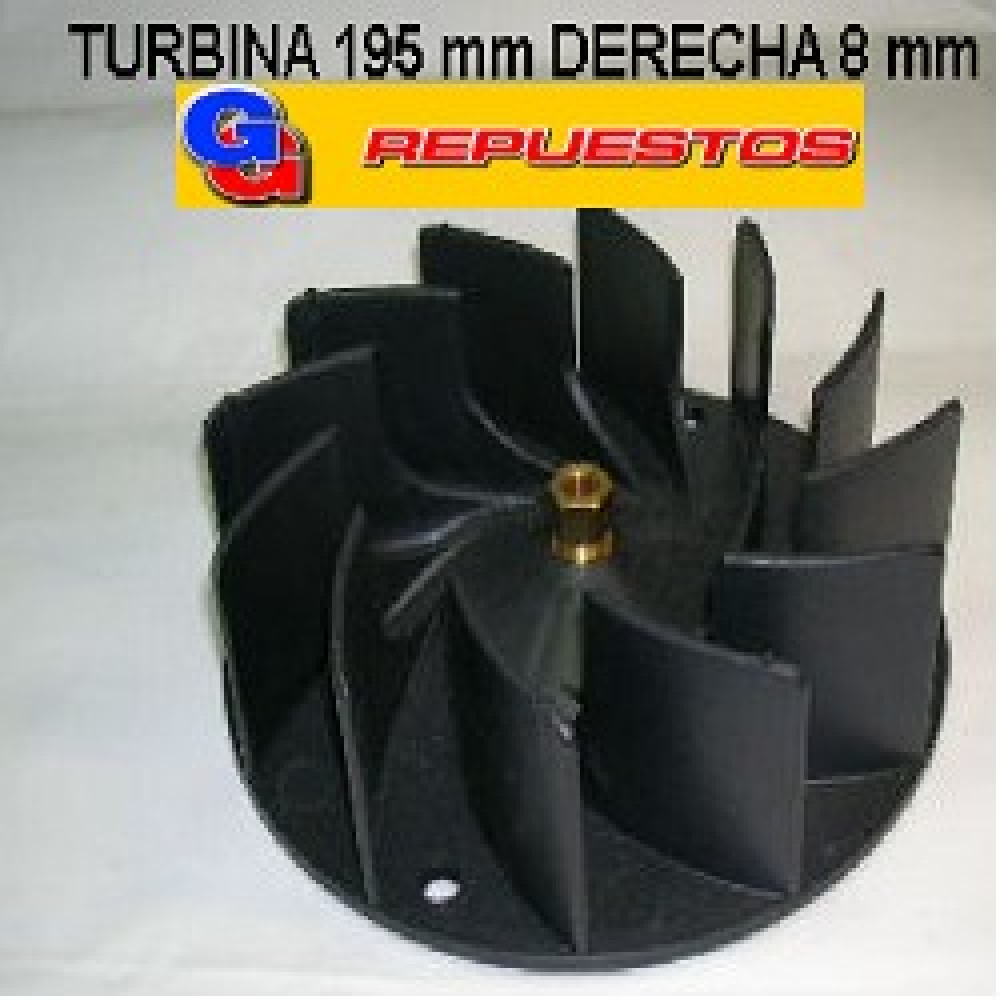 TURBINA PURIFICADOR 195 mm C/TCA DE BRONCE DERECHA .8mm ALTO 5.5 cm