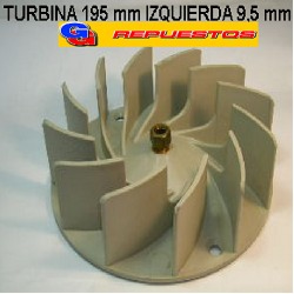 TURBINA PURIFICADOR 195 mm C/TUERCA DE BRONCE IZQUIERDA .9,5mm ALTO 6 cm