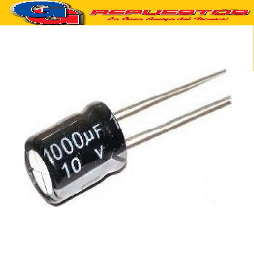 CAPACITOR ELECTROLITICO 1000uFX10V PATAS CORTAS