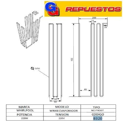 RESISTENCIA DE ALUMINIO DE HELADERA WHIRLPOOL WRI48 EVAPORADOR NO FROST B320 220V 228W