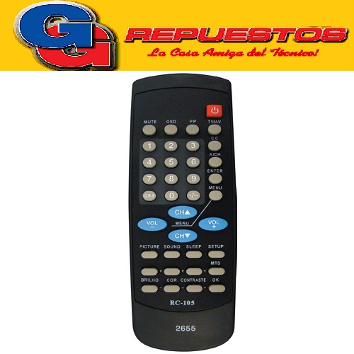 CONTROL REMOTO TV RC105 CROWN MUSTANG PHILIPS RECOR TALENT (2655) PHILIPS TRENDSET RC105