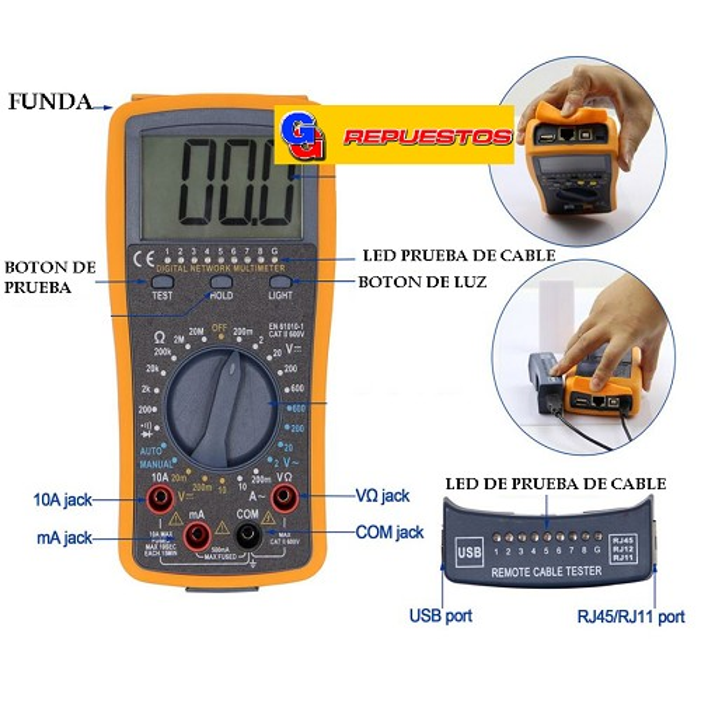 TESTER DIGITAL DT4300A  MIDE CABLE DE RED