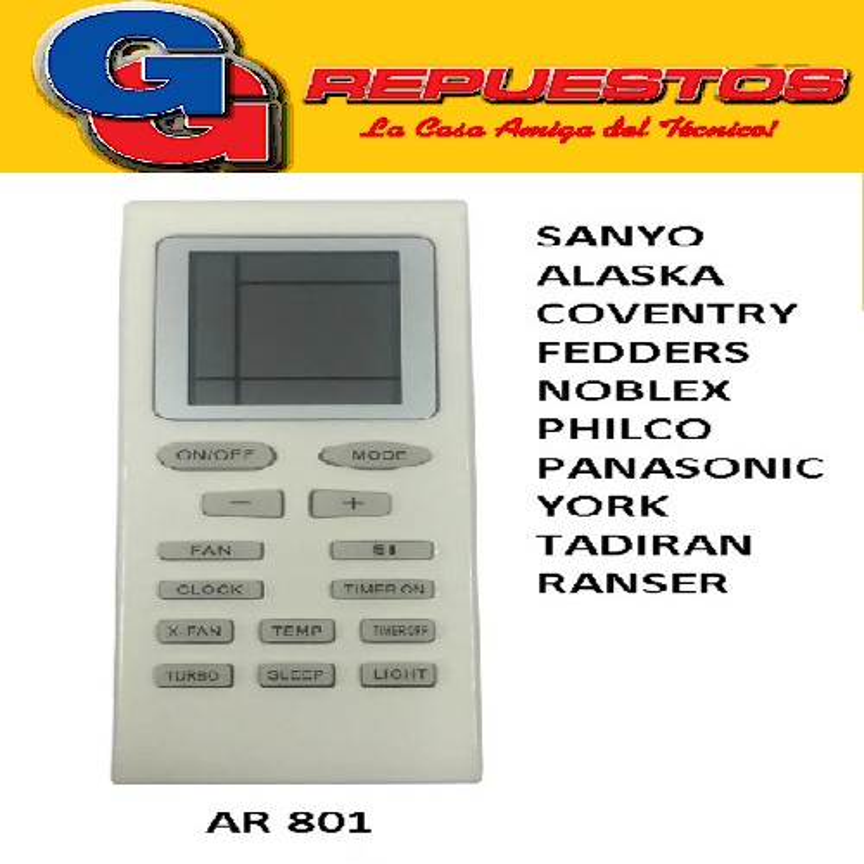 CONTROL REMOTO AIRE ACONDICIONADO SPLIT AR801 SANYO ALASKA COVENTRY MARSHALL A701 A401 ANDA IGUAL QUE A417
