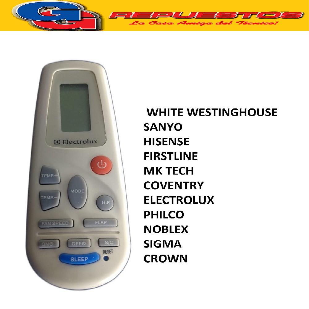 CONTROL REMOTO AIRE ACONDICIONADO SPLIT AR802 [[FRIO / CALOR]] SIGMA / WHITE WESTINGHOUSE, SANYO, HISENSE, FIRSTLINE, MK TECH, COVENTRY, ELECTROLUX, PHILCO, NOBLEX, CROWN RCH-2302NA