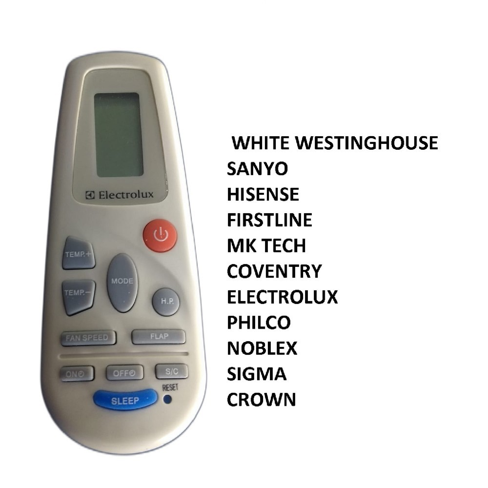 CONTROL REMOTO AIRE ACONDICIONADO AR802 ELECTROLUX SIGMA WHITE WESTINGHOUSE