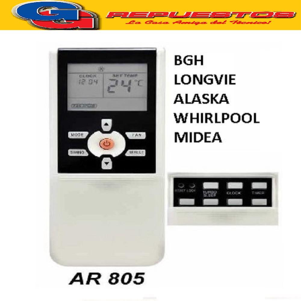 CONTROL REMOTO AIRE ACONDICIONADO SPLIT AR805 DAEWO WHIRLPOOL NIDEA ALSKA BGH LONGVIE A405