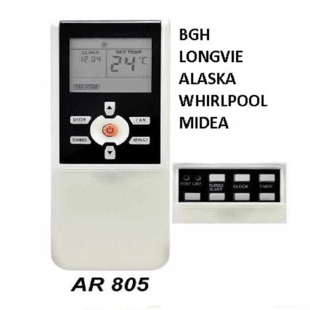 CONTROL REMOTO AIRE ACONDICIONADO SPLIT AR805 DAEWO WHIRLPOOL NIDEA ALSKA BGH LONGVIE