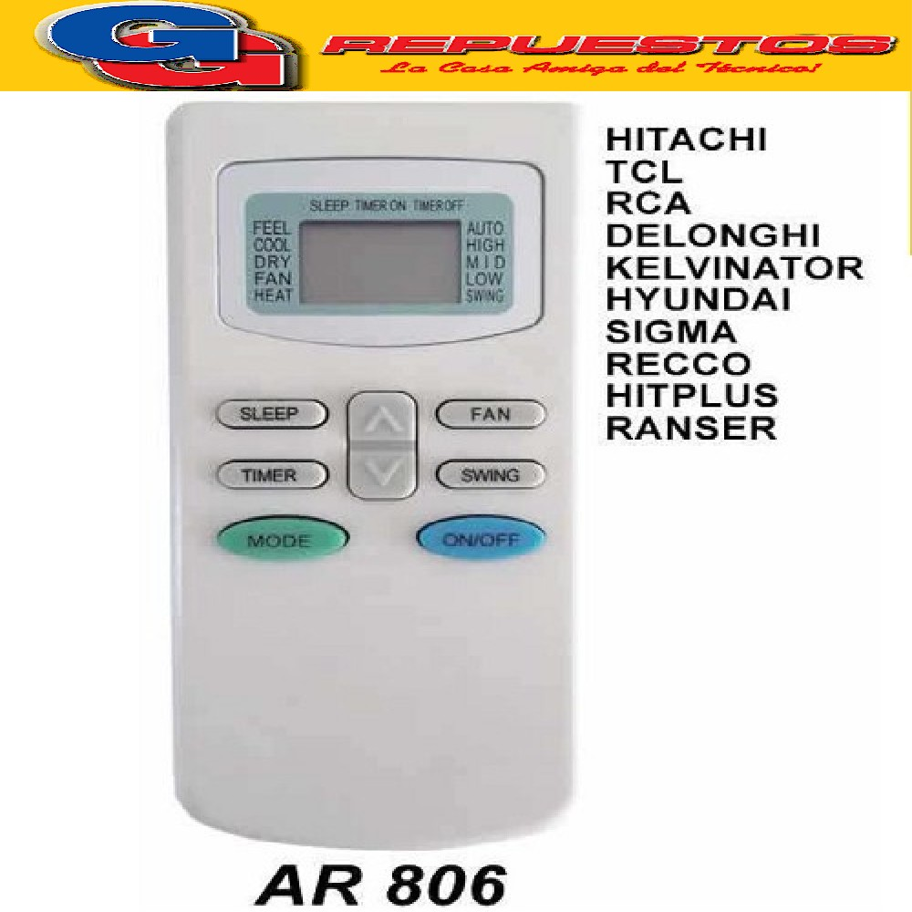 CONTROL REMOTO AIRE ACONDICIONADO SPLIT AR806 HITACHI TCL RCA KELVINAITOR
