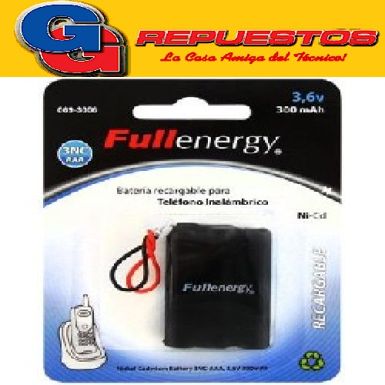 BATERIA FULLENERGY PARA TELEFONIA 3NC-AAA 3.6V 300MA C/CONECTOR UNIV