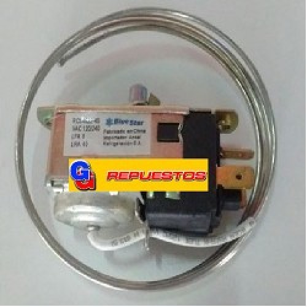 TERMOSTATO BLUESTAR RC94522-4S / PEABODY / RESISTENCIA (+3.5-16.6_-22_-25.7) 3 CONTACTOS 2 FRIOS EJE REDONDO LENGUETA DE ARRASTRE CAPILAR 1150 mm REEMPLAZO TSV-9013-22