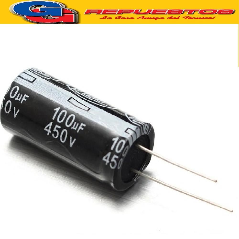 CAPACITOR ELECTROLITICO 100uFX450V Rad. (22x36mm) 105ºC