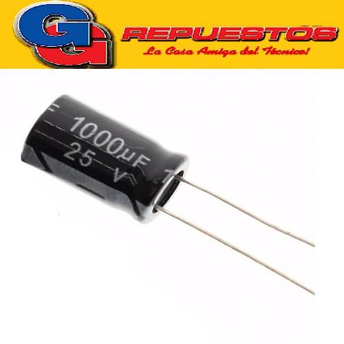 CAPACITOR ELECTROLITICO 1000uFX25V Rad. (10x20mm) 105ºC