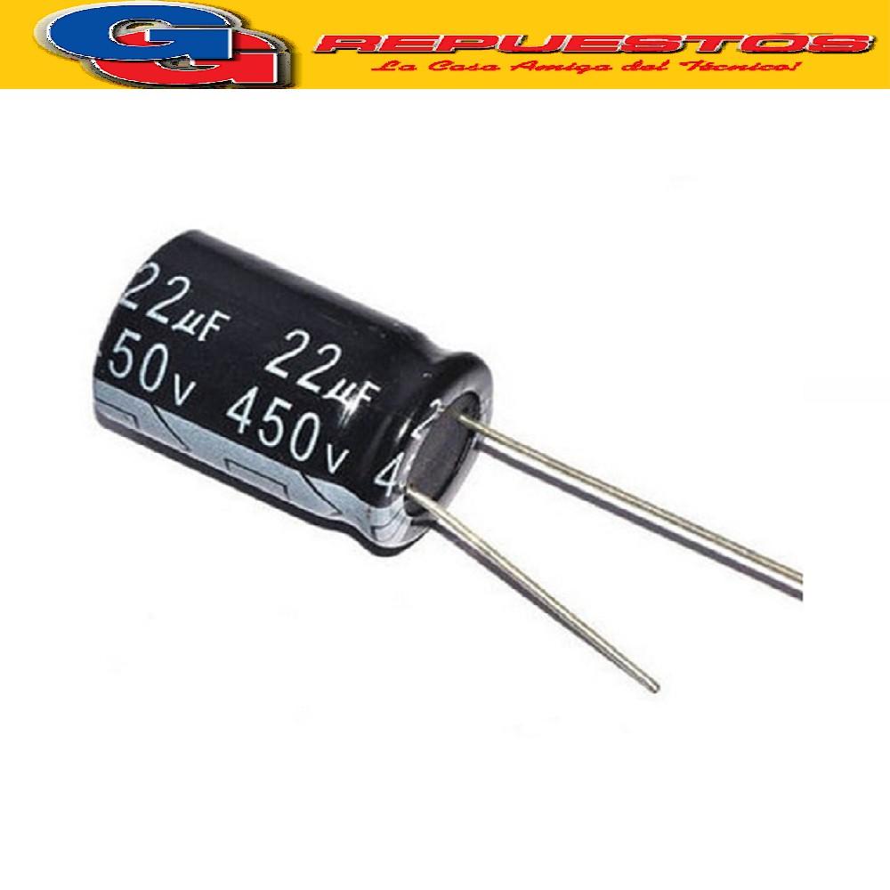 CAPACITOR ELECTROLITICO 22uFX450V Rad.  (16x26mm) 105ºC