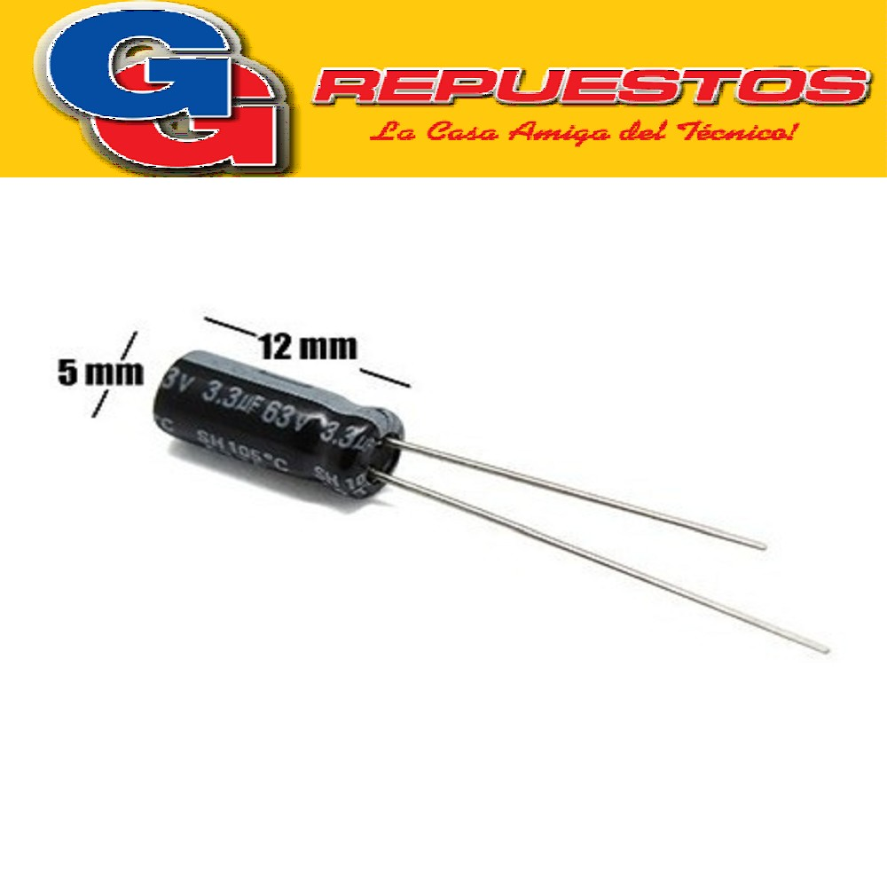 CAPACITOR ELECTROLITICO 33uFX63V RADIAL (8 x 12mm)