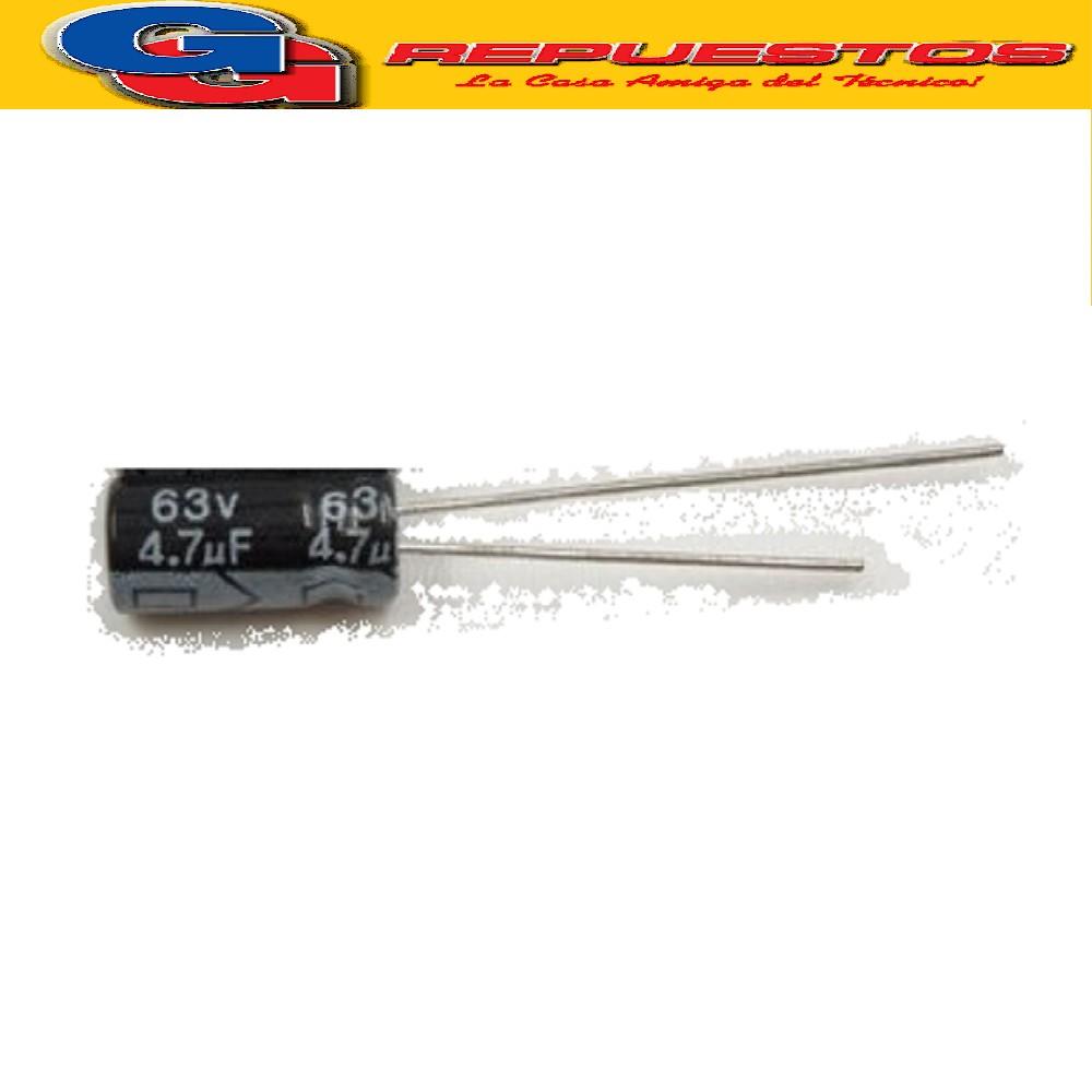 CAPACITOR ELECTROLITICO 4.7uFX63V RADIAL (5 x 11mm)