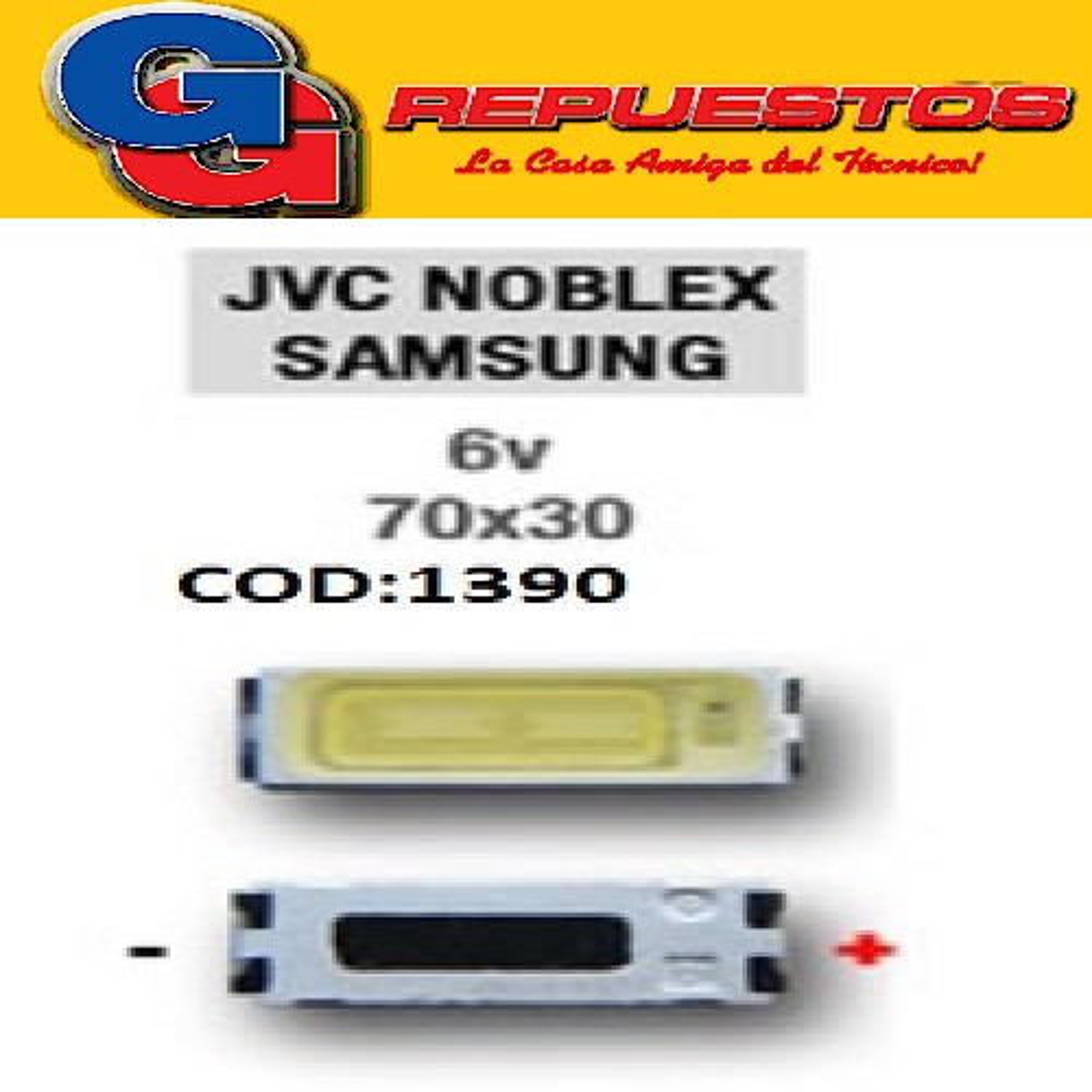 LED PANTALLA 6V 70X30 BACKLIGHT JVC SAMSUNG