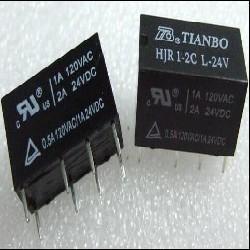 RELE RELAY BOBINA 12V (700E);  1A 120V 2INV. (HJR1-2C-D24)