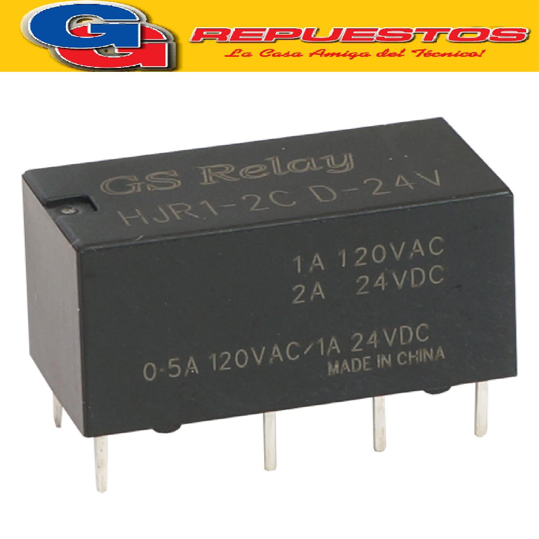 RELE RELAY BOBINA 24V (1600E); 1A 120V 2INV.(HJR1-2C-D24)