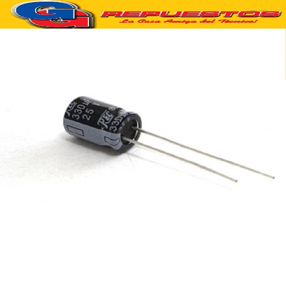 CAPACITR ELECTROLITICO 330uFX25V Rad. (8x14mm) 105ºC