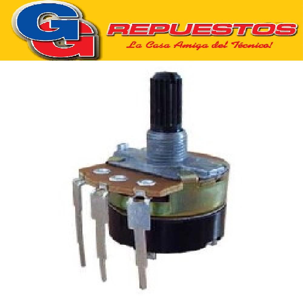 POTENCIOMETRO ROTATIVO PLASTICO 6MM 5K LOGARITMICO C/LLAVE A5K EJE REDONDO ESTRIADO