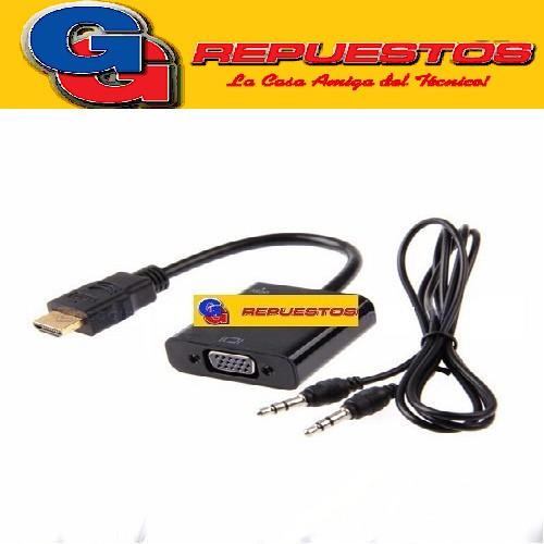 CABLE ADAPTADOR CONVERTIDOR HDMI A VGA + AUDIO