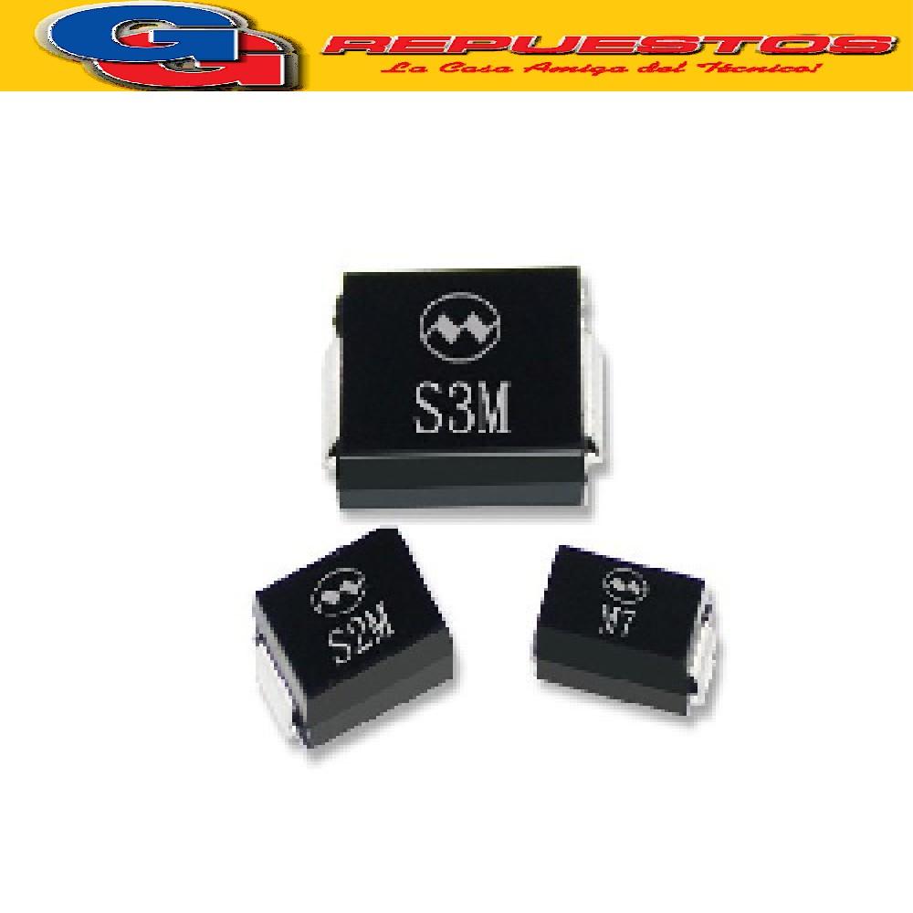 GS2M DIODO RECTIFICADOR 2A 1000V, DO214AB (SMC) SMD