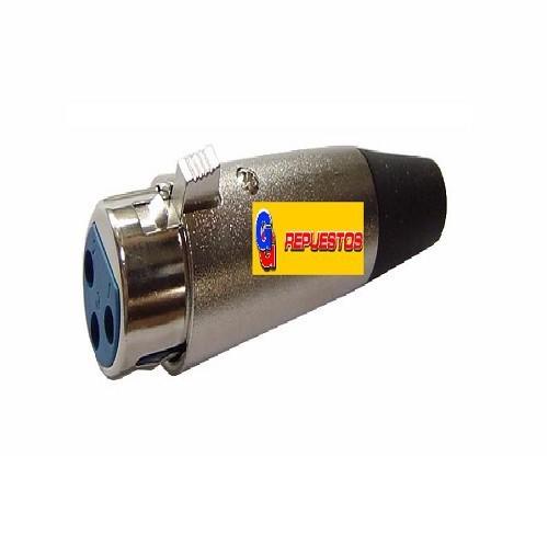 FICHA CONECTOR CANON XLR 3P P/CABLE HEMBRA - AUDIO, MICROFONO, LUCES DMX Y MAS
